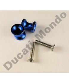 Billet alloy paddock stand bobbin spools M6 in blue PDSBOB6BU