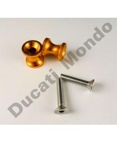 Billet alloy paddock stand bobbin spools M6 in gold PDSBOB6GD