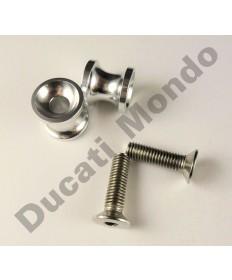 Billet alloy paddock stand bobbin spools M10 - Silver