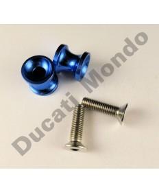 Billet alloy paddock stand bobbin spools M10 - Blue