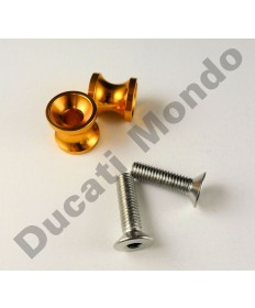 Billet alloy paddock stand bobbin spools M8 in gold PDSBOB8GD
