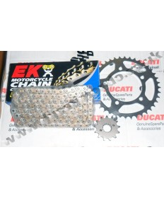 Ducati 851 Strada/SP Chain & Sprocket kit & gold EK X ring chain 90-92