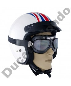 Bike It Classic Aviator One Black Framed Motorcycle/Scooter Goggles With Smoked Lens