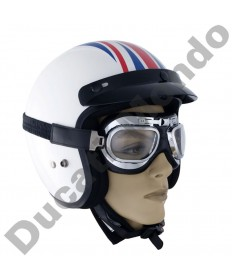 Bike It Classic Aviator Two Silver Framed Motorcycle/Scooter Goggles With Light Smoked Lens