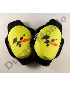 MotoGP GP Knee sliders in yellow Velcro mount new style composite puck