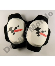MotoGP GP Knee sliders in white Velcro mount new style composite puck - MGPKSL06