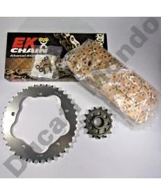 Ducati 848 Chain & Sprocket kit with extra heavy duty Gold EK MVXZ series X ring chain 08-13