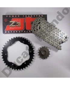 Ducati Multistrada 1200 chain & quick change sprocket with JT Z3 super heavy duty series X ring chain all models 10-17 except Enduro black steel finish