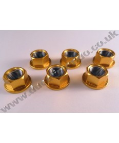 Billet alloy sprocket cush drive nuts x6 M10x1.25mm for Ducati