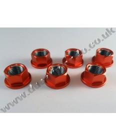 Billet alloy sprocket cush drive nuts x6 M10x1.25mm for Ducati