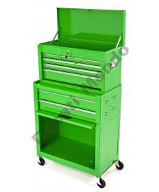 Mechanics steel green combination tool chest and cabinet set