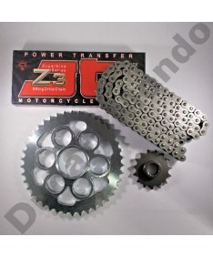 Ducati Multistrada 1260 Chain & Sprocket kit with JT Z3 super heavy duty series X ring chain 18-19 black steel finish