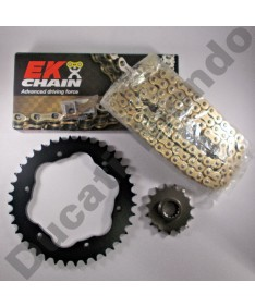 Ducati Multistrada 1200 chain & quick change sprocket kit with extra heavy duty Gold EK MVXZ series X ring chain 10-17 all models except Enduro